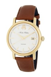 Brooks Brothers Men's Core Collection Analog Leather Strap Watch Brown