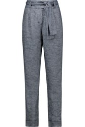 Maje Parisien Belted Linen Blend Twill Tapered Pants Mid Denim