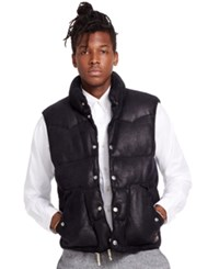 Denim And Supply Ralph Lauren Faux Leather Down Vest Polo Black