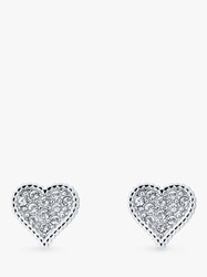 Ted Baker Hanila Swarovski Crystal Hidden Heart Stud Earrings Silver