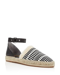 Rebecca Minkoff Vicky Embroidered Ankle Strap Espadrille Flats 100 Exclusive Black White