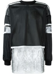 Astrid Andersen Lace Panel Mesh Sweatshirt Black