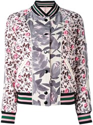 Coach Printed Polyester Reversible Bomber Jacket Women Polyester Viscose 6 Pink Purple