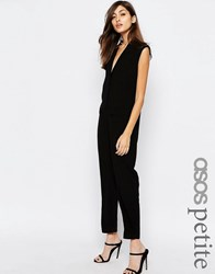 Asos Petite Sleeveless Wrap Jumpsuit Black