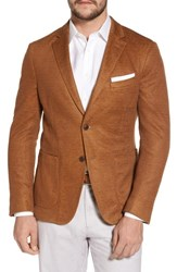 Flynt Big And Tall Trim Fit Heathered Jersey Blazer Burnt Sienna