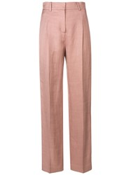 Esteban Cortazar High Waisted Straight Fit Trousers Pink