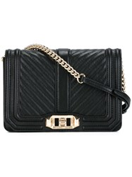 Rebecca Minkoff Ribbed Trim Cross Body Bag Black