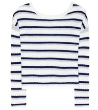 81 Hours Calanta Striped Cashmere Sweater White