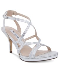 Nina Varsha Strappy Evening Sandals Women's Shoes Silver