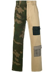 Gosha Rubchinskiy Bi Colour Cargo Trousers Nude And Neutrals