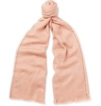 Loro Piana Cashmere And Silk Blend Jacquard Scarf Pink
