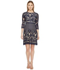Christin Michaels Maxine 3 4 Sleeve Lace Dress Navy Nude Women's Dress Black