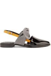 Mother Of Pearl Ruth Houndstooth Jacquard And Patent Leather Point Toe Flats Black