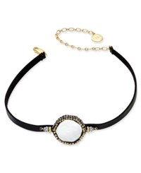 Paul And Pitu Naturally 14K Gold Plated Hematite Freshwater Pearl Coin Black Imitation Leather Choker Necklace