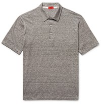 Isaia Space Dyed Linen And Cotton Blend Polo Shirt Taupe