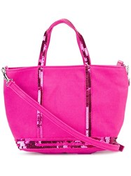 Vanessa Bruno Sequin Trim Tote Pink And Purple