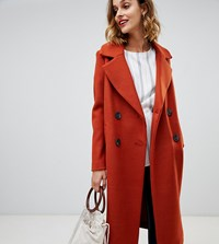 River Island Double Breasted Tailored Coat In Tan Brown