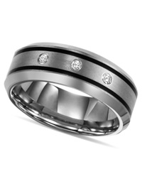 Triton Tungsten Ring Diamond Wedding Band 1 10 Ct. T.W.