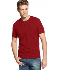 Alfani Big And Tall Pierre Pique Henley T Shirt Dark Ruby Red