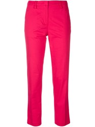 Emporio Armani Straight Leg Cropped Trousers Pink And Purple