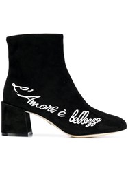 Dolce And Gabbana Embroidered Ankle Boots Black