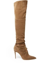 Jennifer Chamandi Alessandro 105 Suede Over The Knee Boots Beige
