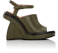 Marni Women's Sculpted Wedge Ankle Strap Sandals Dark Green