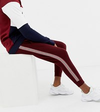 Burton Menswear Big And Tall Taped Joggers In Burgundy Red