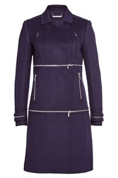 Diane Von Furstenberg Wool Coat With Zippers Purple