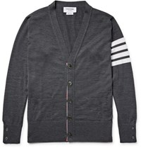 Thom Browne Striped Wool Cardigan Dark Gray