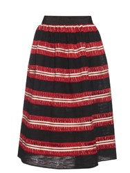 Jupe By Jackie Striped Cotton Gauze Skirt Black Red
