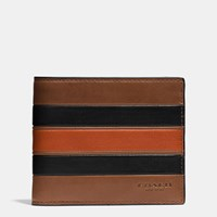 Coach Modern Varsity Stripe 3 In 1 Wallet In Smooth Leather Dark Saddle Black