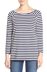 Women's Leith Stripe Side Slit Tee Navy Evening Stripe
