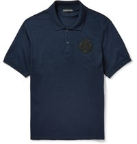 Alexander Mcqueen Slim Fit Bead Embellished Cotton Pique Polo Shirt Blue