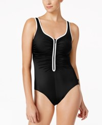 Reebok Pipe Trim Zip Front One Piece Swimsuit Women's Swimsuit Black White