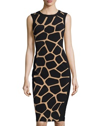 Maggy London Sleeveless Giraffe Print Sheath Dress Buff Black