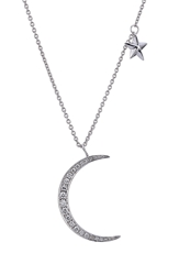 Anita Ko 18Kt White Gold Moon Star Pendant Necklace With Diamonds