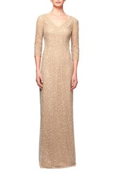 Women's Kay Unger Sequin Lace Column Gown Champagne