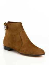 Gianvito Rossi Lindon Suede Flat Ankle Boots Brown