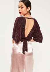 Missguided Purple Kimono Sleeve Pleated Crop Blouse Plum