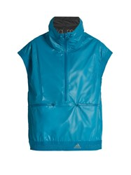Adidas By Stella Mccartney Reflective Sleeveless Performance Jacket Blue