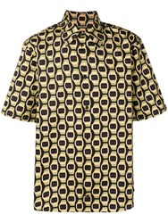 Roberto Cavalli Watch Print Button Up Shirt Black