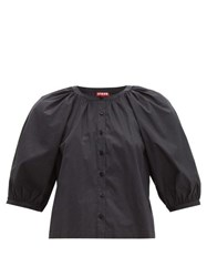 Staud Blouson Sleeve Cotton Blend Top Black