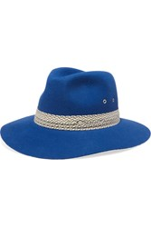 Maison Michel Henrietta Cotton Trimmed Rabbit Felt Fedora Blue