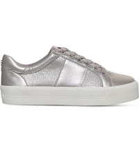 Carvela Lint Leather Trainers Pewter