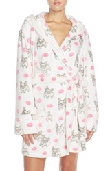 Women's Pj Salvage Hooded Short Fleece Robe Ivory Kisses