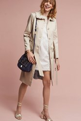 Anthropologie Ruffled Trench Coat Natural