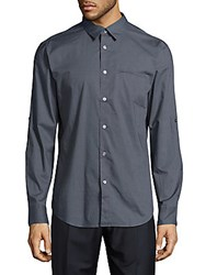 John Varvatos Solid Point Collar Cotton Shirt Dusted Blue