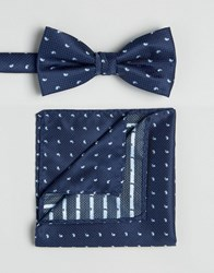 Selected Homme Bow Tie And Pocket Square Navy