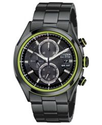 Citizen Men's Chronograph Drive From Citizen Eco Drive Black Ion Plated Stainless Steel Bracelet Watch 40Mm Ca0435 51E